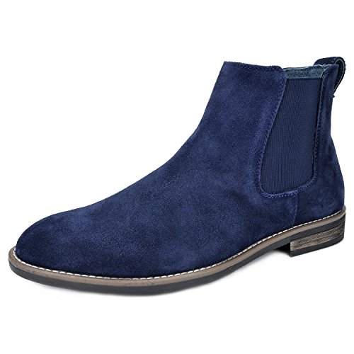 (Bruno Marc Men's Urban-06 Navy Suede Leather Chukka Ankle Boots - 13 M)