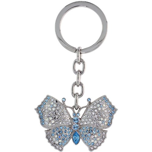 (Large Butterfly Key Chain, Key Ring, Key Holder, Key Tag , Key Fob, w/ Clear & Blue Topaz-color Swarovski Crystals, 3-1/2