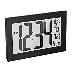 Marathon Slim Panoramic Atomic Full Calendar Wall Clock with 8 Time Zones, Indoor Temperature, and Stand - Batteries Included - CL030068BK-BS (Black Case/Black Stainless Finish)