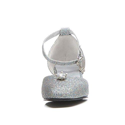 Bride Sandales Femmes Taoffen Cheville Silver wfx0XHZqW8