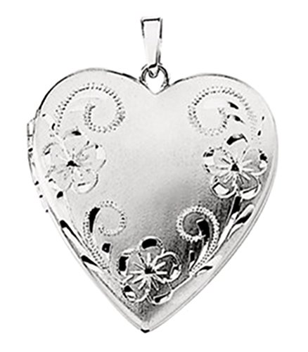 14k White Gold Brushed Satin Engraved Flowers 4 Picture Heart Locket Pendant