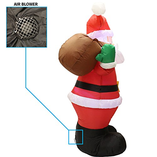 Joiedomi 6 Foot Inflatable Santa Claus; LED Light Up Giant Christmas Xmas Inflatable Santa Claus Carry Gift Bag for Blow Up Yard Decoration, Indoor Outdoor Garden Christmas Decoration by by Joiedomi (Image #3)