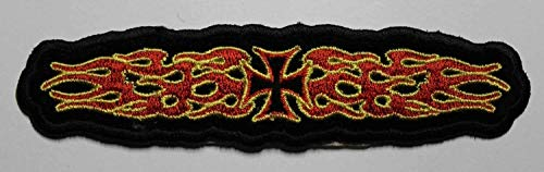Embroidery Patch Flaming Maltese Cross Motorcycle Biker 5
