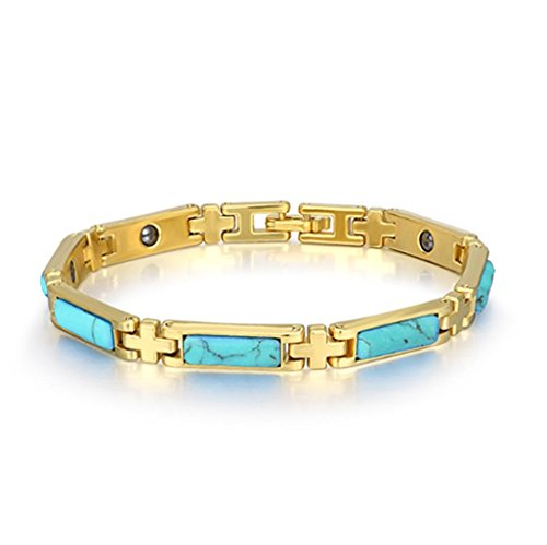 - Antiquity Sian Art Jewelry Magnetic Copper Magnetic Therapy Bracelets Turquoise/Cat's Eye Chain Bracelets 18K Gold Plated