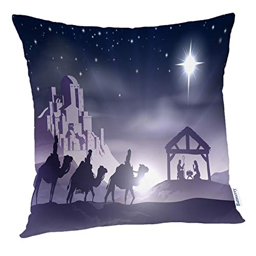 Batmerry Merry Christmas Theme Decorative Pillow Covers 18 x 18 inch,Christian Christmas Nativity Jesus Religious Double Sided Throw Pillow Covers Sofa Cushion Cover Lumbar -