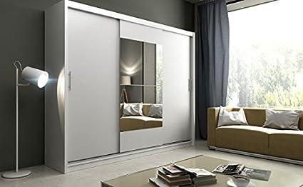 Cobra Grande 250 cm de ancho, armario con espejo blanco espejo de armario con estantes puertas correderas barra para colgar muebles dormitorio pasillo: Amazon.es: Hogar