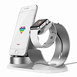 Apple Watch Stand Aluminum[4 in 1 Charger Stand]iWatch AirPods Accessories Apple Pencil Desktop Charging Dock Station Holder for iPhone X/8/8Plus/7s/7sPlus/6Plus/5s/iPod/iPad mini watch3/2/1-Silver