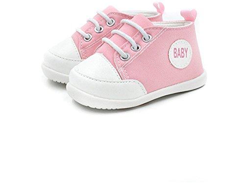 Summens Krabbelschuhe Babyschuhe 0-18Monate,Lauflernschuhe Weiche Sohle Leinwand Sneaker Kleinkind Schuhe Pink