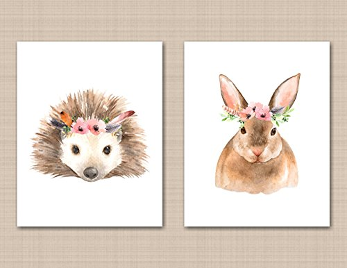 Girl Woodland Nursery Wall Art Animals Baby Room Décor Forest Animals Bunny Rabbit porcupine UNFRAMED PRINTS (NOT - Mail Class Ups Tracking First