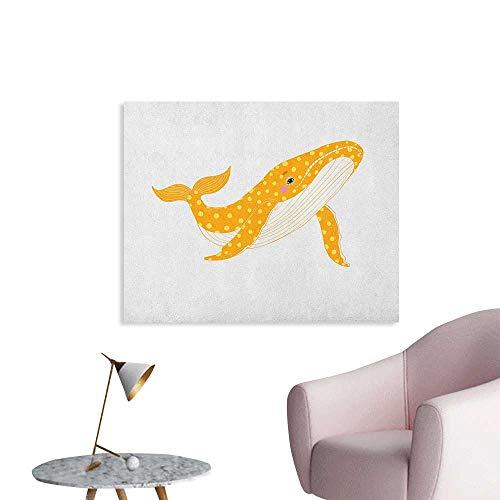 (Anzhutwelve Whale Home Decor Wall Big Cartoon Sea Animal Ocean Mammal Aquatic Wildlife Illustration Poster Paper Marigold Yellow and White W48 xL32)