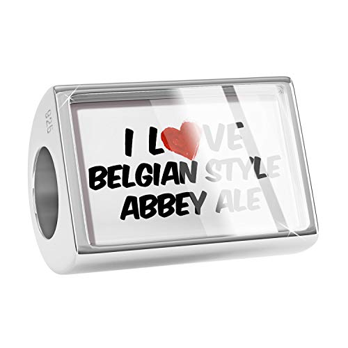 NEONBLOND Charm I Love Belgian Style Abbey Ale Beer 925 Sterling Silver Bead