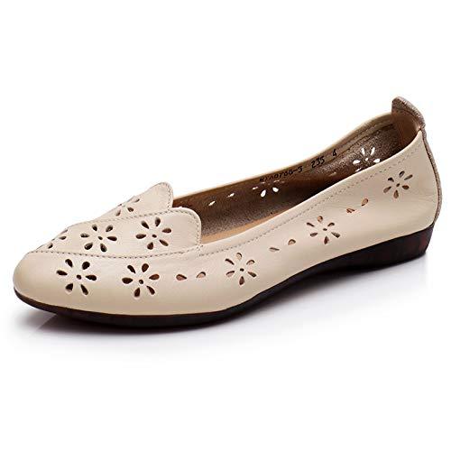 Calado Fondo Zapatos Zapatos Trabajo FLYRCX white Zapatos Planos Antideslizante de de Mujeres Suave creamy Oficina Cuero Las de de Casuales 1nXqzwX4