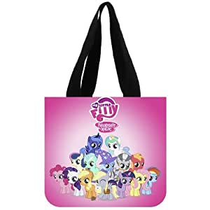 Cute Cartoon Movie&my little pony Background Tote Bag-100% cotton canvas Eco-friendly Two Side Same Printed shopping bag-large size of 12.2x11x3.3 inch carrier bag