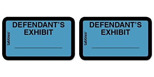 TAB58093 - Legal Exhibit Labels, Defendant, 1-5/8x1, Blue 252 Labels, 2 Packs by Tabbies