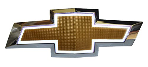 Illuminated Light Up LED Front Grille Bowtie Textured Emblem (Gold, White) Fits 2010-15 Chevy Camaro