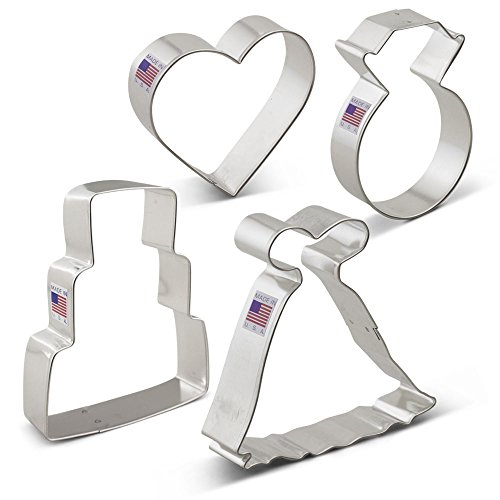 Wedding Cookie Cutter Set - 4 Piece - Wedding Dress, Wedding Cake, Diamond Ring and Heart - Ann Clark - US Tin Plated Steel