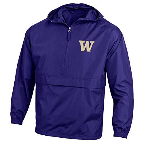 - Champion NCAA Men's Half Zip Front Pocket Packable Jacket Washington Huskies X-Large