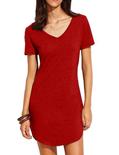 Haola Women's Summer Short Sleee Slim Fit Shirts Mini Dresses Juniors Dress Top XL Red]()
