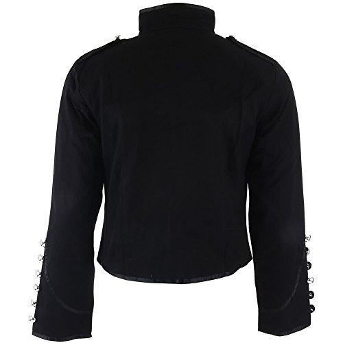 Gotico Borchie Nero Argentate Stile Con Militare Giacca Nera Banned PwCZ4q4px