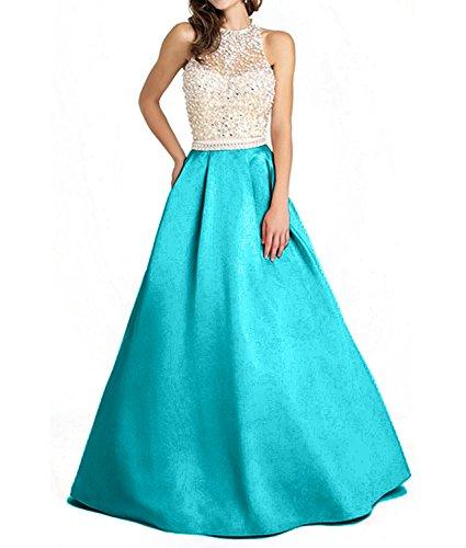 Satin mia Braut Abendkleider Perlen Rock Blau Festlichkleider Ballkleider Partykleider Linie A Lang La Formalkleider ntdqwSxt