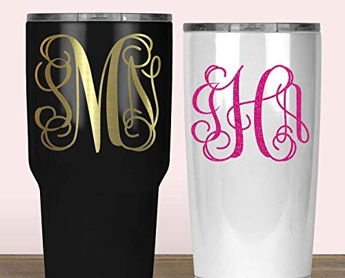 (Custom Monogram Yeti Decal, Vine Initials Sticker for Tumbler, Your Choice of Size and Color)