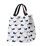 Whitelotous Cute Canvas Tote Bag Thermal Cooler Insulated Lunch Bag Portable Picnic Bag (Whale)