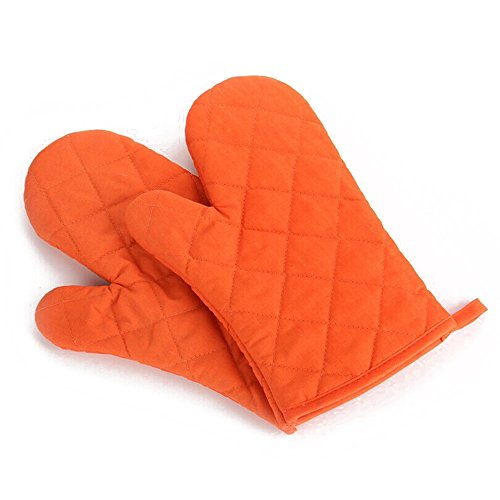 Oven Glove - TOOGOO(R) 1 Pair Kitchen Craft Heat Resistant Cotton Oven Glove Pot Holder Baking Cooking Mitts Orange