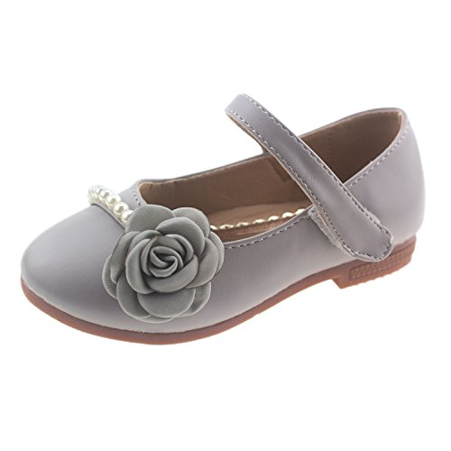 Bella Rosa Toddler Little Girls Dress Ballet Mary Jane Pearl Flat - Dress Shoes Pageant
