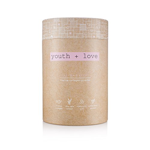 Marine Collagen Powder - 100% Organic - Anti-Aging - Hyaluronic Acid - Skin, Nails, Hair - Strawberry (30 Stick Pack) - Youth + Love