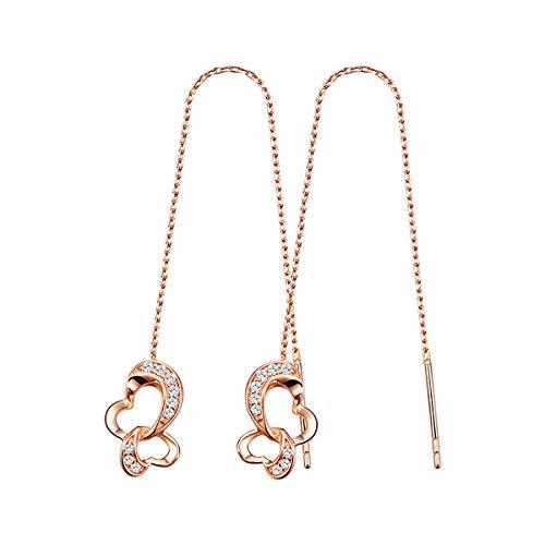 - VANA JEWELRY Women Gold Heart Butterfly Threaded Earrings Sterling Silver Earrings Dangle Long Girls Earrings Hypoallergenic for Sensitive Ears CZ Diamond Dangling Drop Earrings