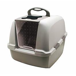 Catit Jumbo Hooded Cat Litter Pan – Warm Gray
