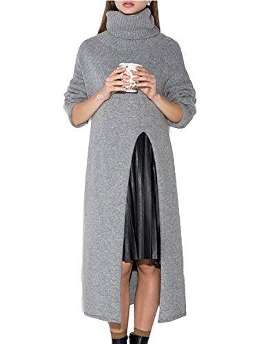 Haijie Women's Tunic Turtle Neck Cable Knit Pullover Split Sweater (Split Neck Sweater Dress)