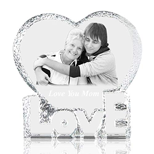 Qianruna Personalized Custom 2D/3D Laser Etched Photo Engraving Crystal Glass Heart Iceberg,Wedding, Birthday Gift for Mom and Wife (Large) -