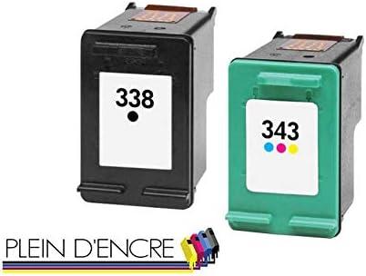 Pack 2 cartucho de tinta N ° 338 XL y N ° 343 XL gran capacidad negro y color para impresora HP Photosmart 2570 2575 2600 2610 2710 8100 8150 8450 8750
