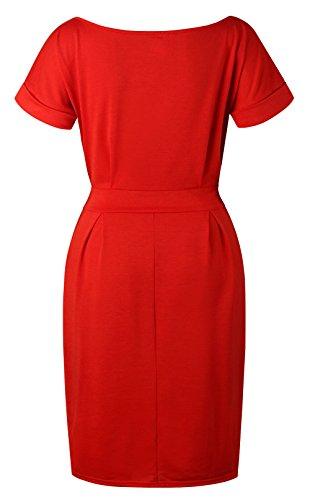 Slim Elegante Moda con Vestido de Verano Manga Midi Vestidos Colores Corta Rojo Fiesta Cóctel Partido Cuello Lisos Vendajes Mujer Redondo 5Eqzz