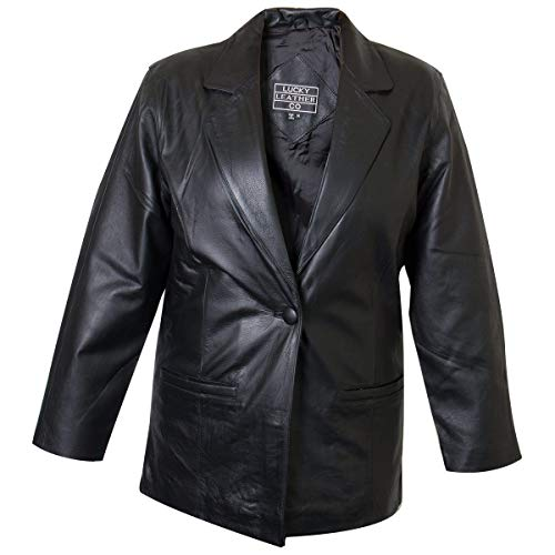 - Ladies Lucky Leather 318-C Cowhide Leather Blazer with Single Button Closure - 2X-Large