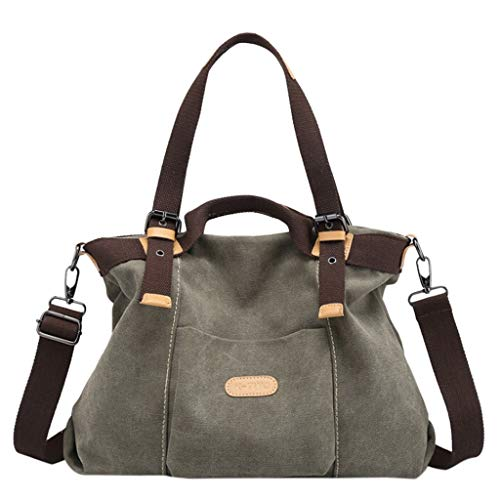 【MOHOLL】 Women Shoulder Bags Casual Vintage Hobo Canvas Handbags Top Handle Tote Crossbody Shopping Bags Army Green