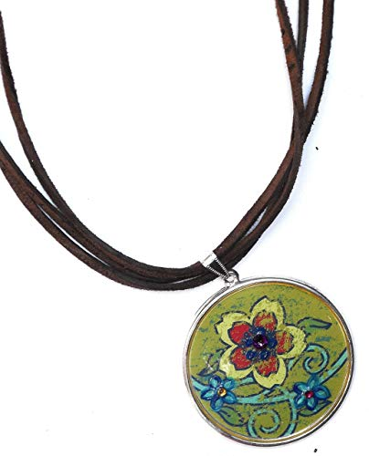 Large Painted Flower Pendant Brown Multi Strand Leather Necklace with Swarovski Crystal Rhinestones