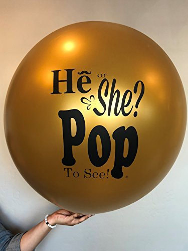 He or She? Pop to See! Gender Reveal Balloon Gold, Gender Reveal,, Sex -