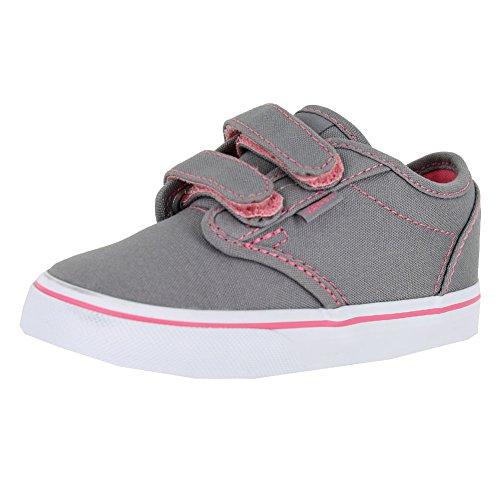 Vans Toddlers Atwood V (Canvas) Grey/Pink Lemonade Skate Shoe 9 Infants (Vans Girls Skateboard Shoe)