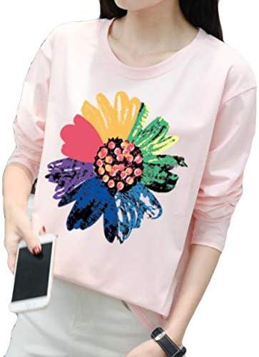 [スポンサー プロダクト]YiTongレディース カットソー 長袖 ゆる シンプル Tシャツ トップス カジュアル 丸首 花柄 韓国風 綿 快適 原宿風 BF風