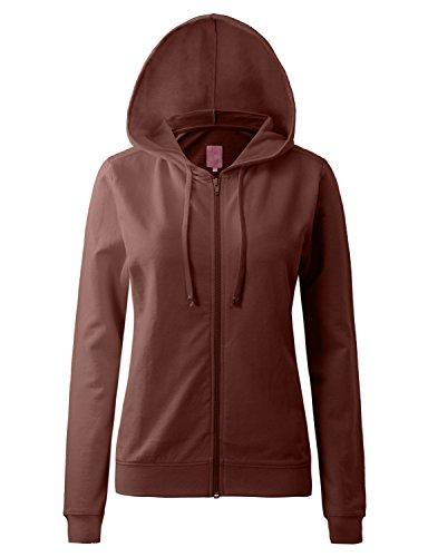 Regna X Womens Long Sleeve Lightweight Thin Full Zip Hoodie Brown - Zippered Cotton Long Sleeve