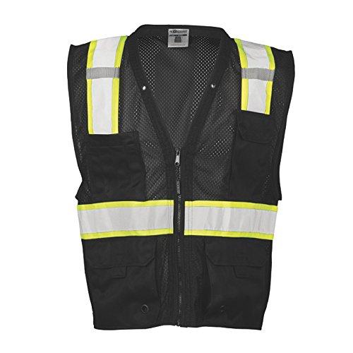 ML Kishigo Men's Enhanced Visibility Multi-Pocket Mesh Vest - Black, Large/XL, Model# B100-L-XL