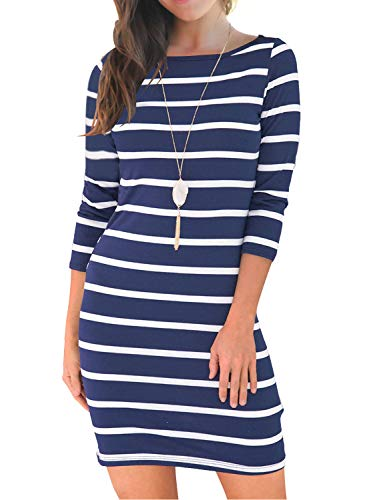 MIHOLL Women's Casual 3/4 Sleeve Striped T-Shirt Dress Pencil Dresses (Large, Navy Blue)