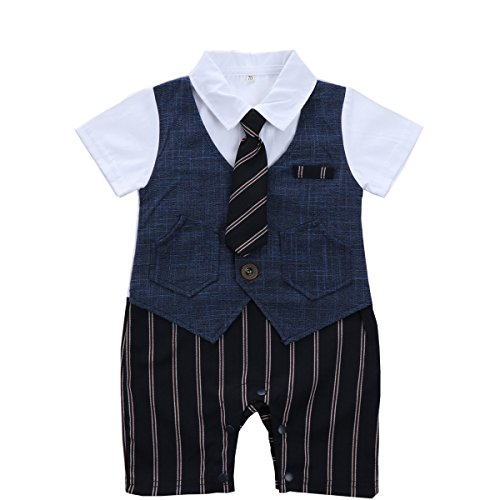 Baby Boy Summer Jumpsuit Clothes Short Sleeve 1Pcs Formal Party with Tie , Blue, 70 (70 Party Clothes)