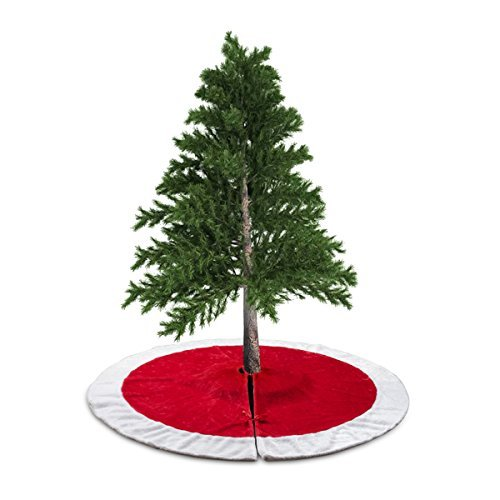 (D-FantiX 48 Inch Traditional Velvet Christmas Tree Skirt Red and White Holiday Christmas Decorations Large)