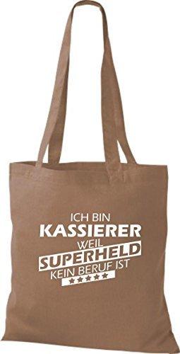 Shirtstown Bolso de tela Estoy Kassierer, weil Superheld sin Trabajo ist Marrón Claro