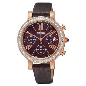 Seiko Chronograph Brown Dial Brown Leather Ladies Watch SRW018 by Seiko Watches
