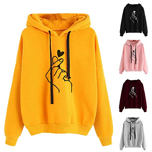Sweaters for Women-Casual Women Loose Hooded Sweatshirt Heart Gesture Long Sleeve Hoodies Top