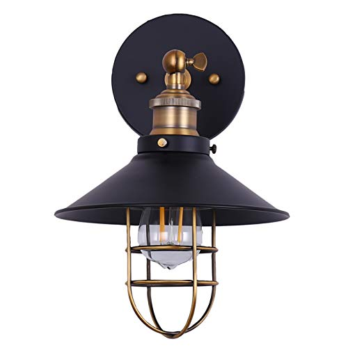 Marazzo Bathroom Wall Sconce | Antique Brass w/Black Hallway Wall Light with LED Bulb LL-WL61-7SBK